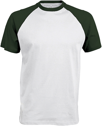 Baseball Contrast T-shirt In White/Forest