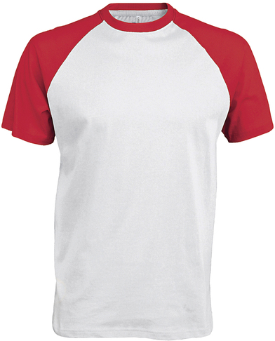 Baseball Contrast T-shirt In White/Red