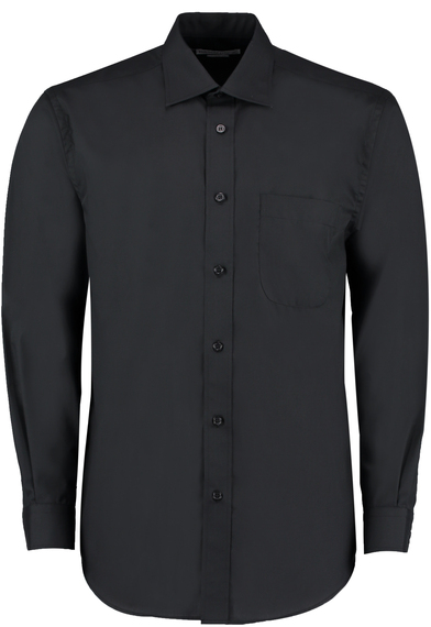 Business Shirt Long-sleeved (classic Fit) In Black