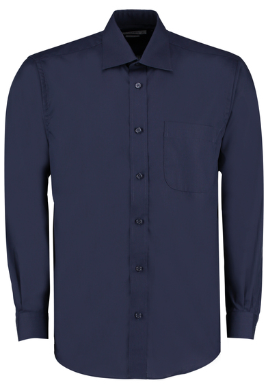 Business Shirt Long-sleeved (classic Fit) In Dark Navy