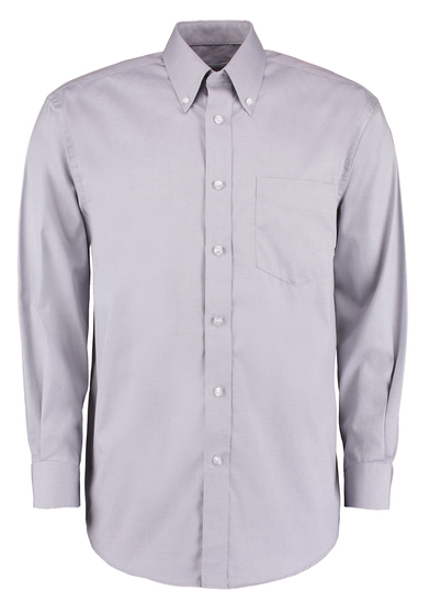 Corporate Oxford Shirt Long-sleeved (classic Fit) In Silver Grey