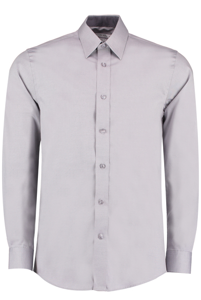 Contrast Premium Oxford Shirt Long-sleeved (tailored Fit) In Silver Grey/Charcoal