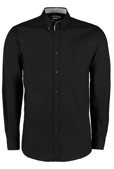 Contrast Premium Oxford Shirt (button-down Collar) Long-sleeved (tailored Fit) In Black/Silver Grey