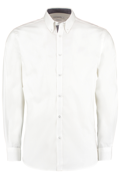 Contrast Premium Oxford Shirt (button-down Collar) Long-sleeved (tailored Fit) In White/Charcoal