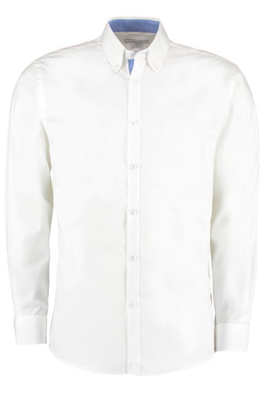 Contrast Premium Oxford Shirt (button-down Collar) Long-sleeved (tailored Fit) In White/Mid Blue