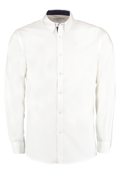 Contrast Premium Oxford Shirt (button-down Collar) Long-sleeved (tailored Fit) In White/Navy