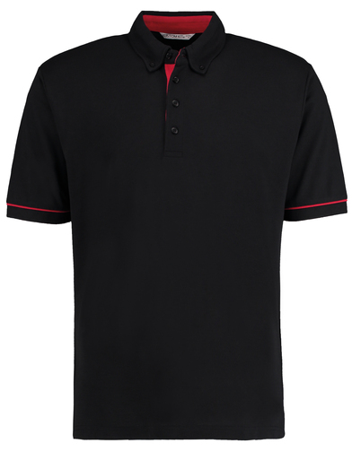 Button-down Collar Contrast Polo (classic Fit) In Black/Red