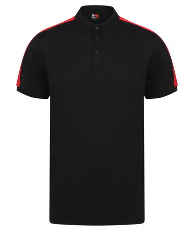 Contrast Panel Polo In Black/Red
