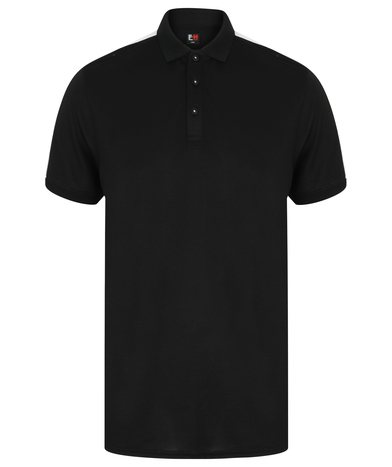 Contrast Panel Polo In Black/White