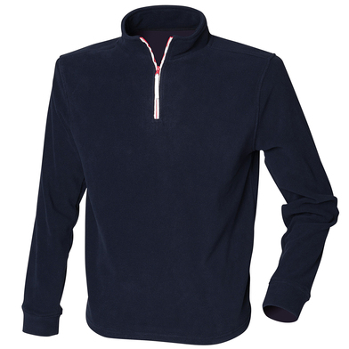 _ Zip Long Sleeve Fleece Piped In Navy/White/Red