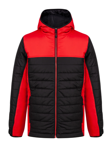 Hooded Contrast Padded Jacket In Black/Red