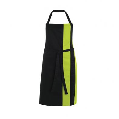 Contrast Bib Apron  In Black / Lime