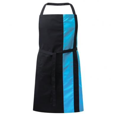 Contrast Bib Apron With Pocket  In Black / Peacock