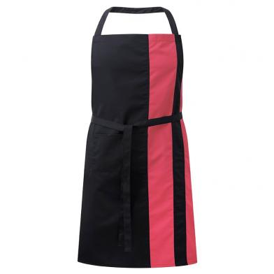 Contrast Bib Apron With Pocket  In Black / Bright Pink