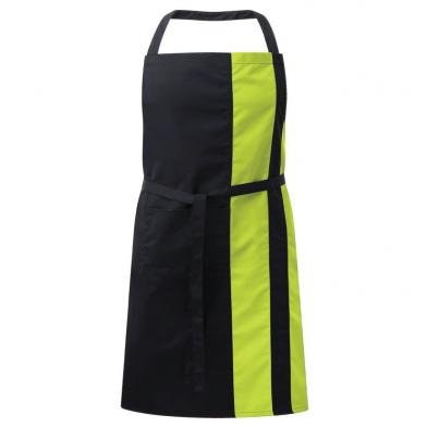 Contrast Bib Apron With Pocket  In Black / Lime