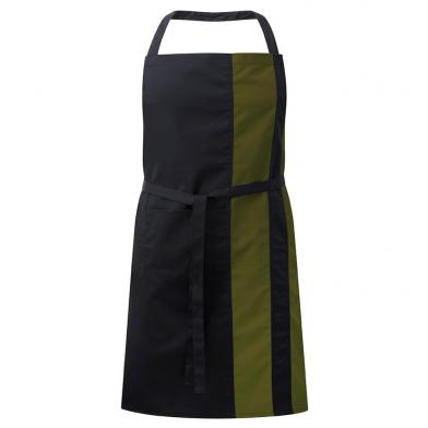 Contrast Bib Apron With Pocket  In Black / Olive