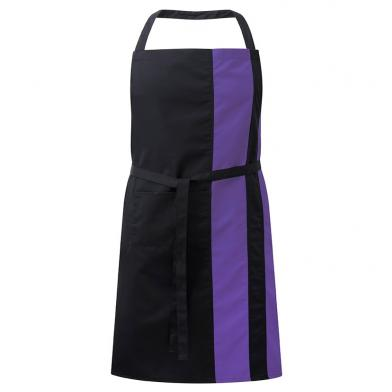 Contrast Bib Apron With Pocket  In Black / Purple