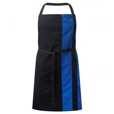 Contrast Bib Apron With Pocket  In Black / Royal Blue