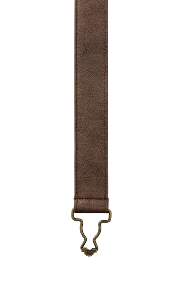 Cross Back Interchangeable Apron Straps In Brown Faux Leather
