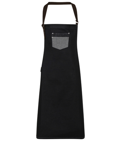 Division Waxed-look Denim Bib Apron With Faux Leather In Black Denim