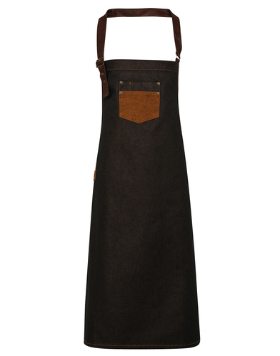 Division Waxed-look Denim Bib Apron With Faux Leather In Black/Tan Denim
