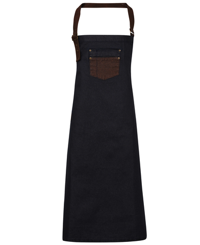 Division Waxed-look Denim Bib Apron With Faux Leather In Indigo/Brown Denim