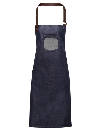 Premier - Division Waxed-look Denim Bib Apron With Faux Leather
