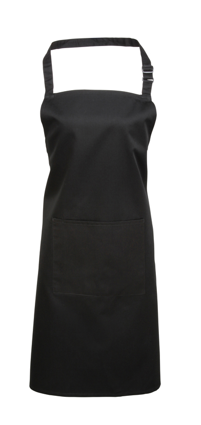 Colours Bib Apron With Pocket In Black