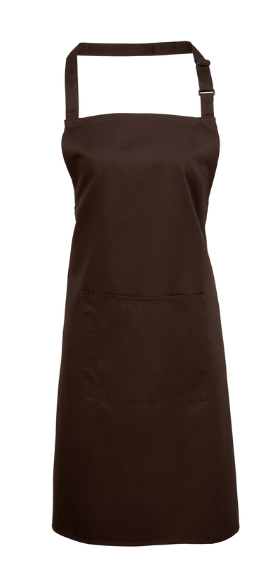 Colours Bib Apron With Pocket In Brown