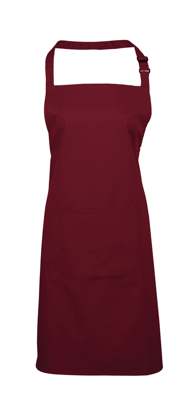 Colours Bib Apron With Pocket In Burgundy