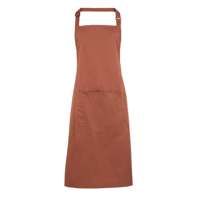Colours Bib Apron With Pocket In Chestnut