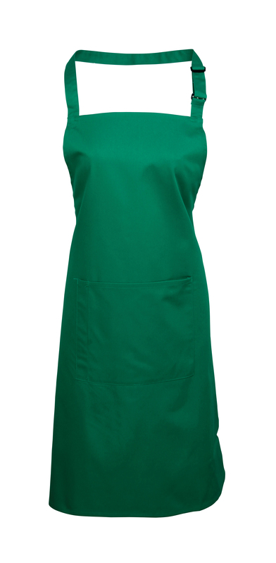 Colours Bib Apron With Pocket In Emerald