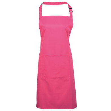 Colours Bib Apron With Pocket In Hot Pink