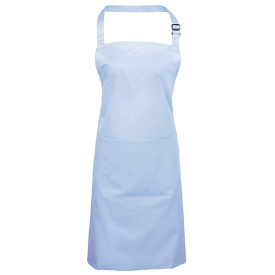 Colours Bib Apron With Pocket In Light Blue