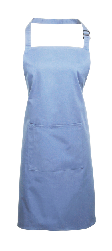 Colours Bib Apron With Pocket In Mid Blue