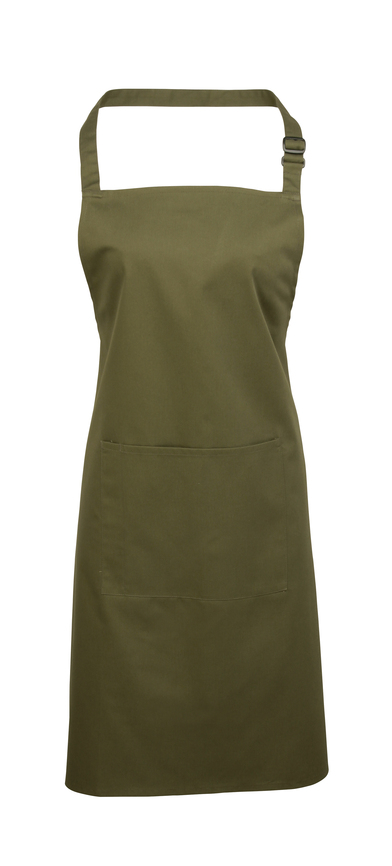 Colours Bib Apron With Pocket In Olive