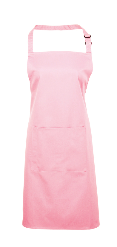 Colours Bib Apron With Pocket In Pink