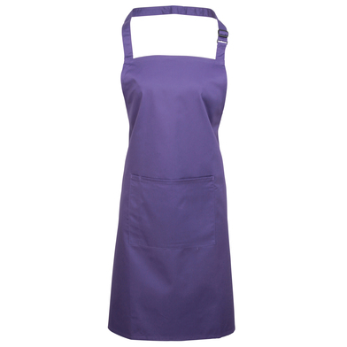 Colours Bib Apron With Pocket In Purple