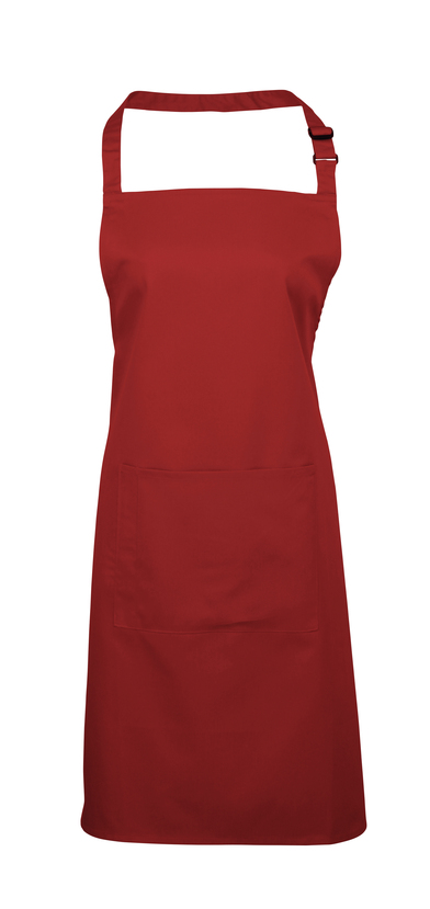 Colours Bib Apron With Pocket In Red