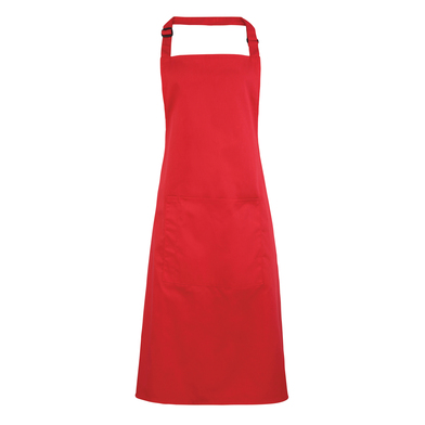 Colours Bib Apron With Pocket In Strawberry Red