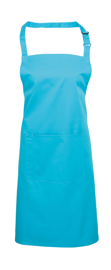 Colours Bib Apron With Pocket In Turquoise