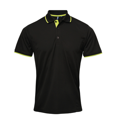 Contrast Coolchecker Polo In Black/Lime