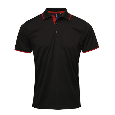 Contrast Coolchecker Polo In Black/Red