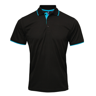 Contrast Coolchecker Polo In Black/Turquoise