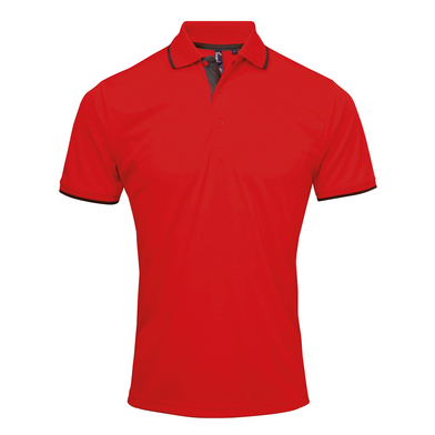 Contrast Coolchecker Polo In Red/Black