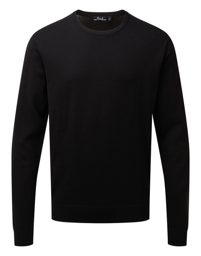 Crew Neck Cotton-rich Knitted Sweater In Black
