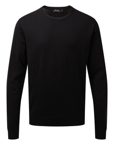 Crew neck cotton-rich knitted sweater