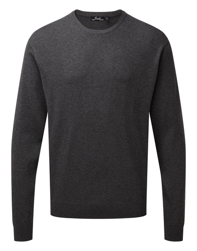 Crew Neck Cotton-rich Knitted Sweater In Charcoal
