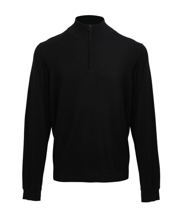 _ Zip Knitted Sweater In Black