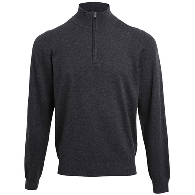 _ Zip Knitted Sweater In Charcoal